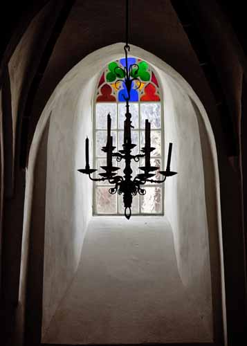 Picture: Chandelier and stained glass window